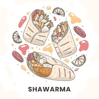 Нарисованная рукой питательная иллюстрация шаурмы