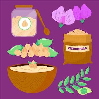 手描きの栄養ひよこ豆