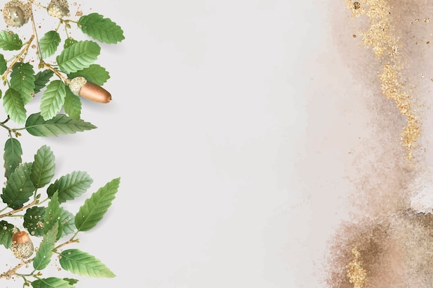 Ручной обращается образец дубовых листьев на бежевом фоне