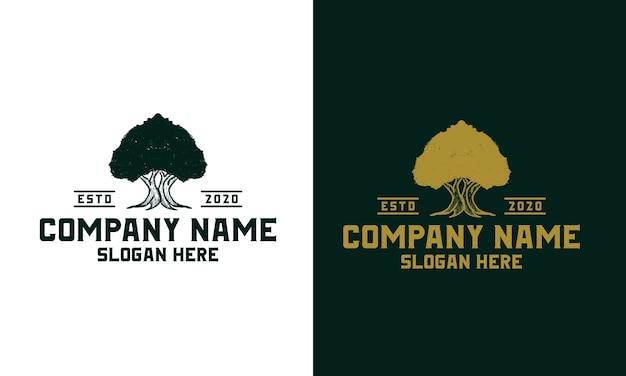 Hand drawn oak tree logo design template