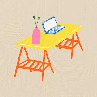 カラフルなフラットグラフィックスタイルの手描きオブジェクトベクトル家具