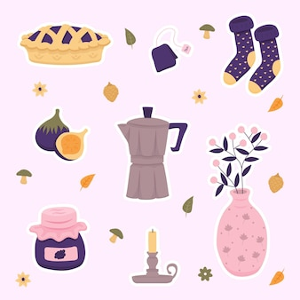 Hand drawn objects and clothing hygge stickers