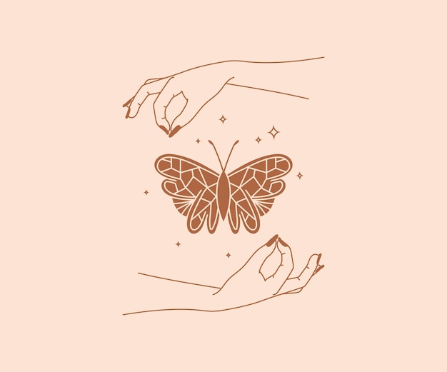 手描きのオカルトバタフライと星の秘教の神秘的なデザイン要素と魔法の手のロゴ