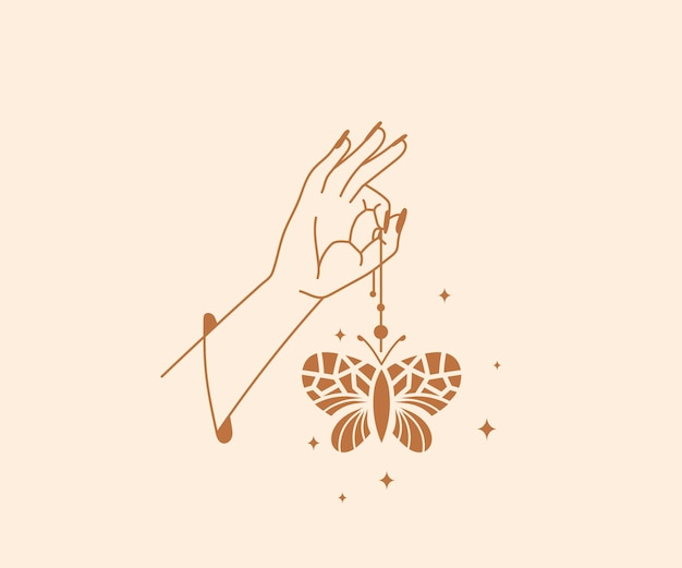 Hand drawn occultism  magical hands logo with butterfly and stars esoteric mystical design elements