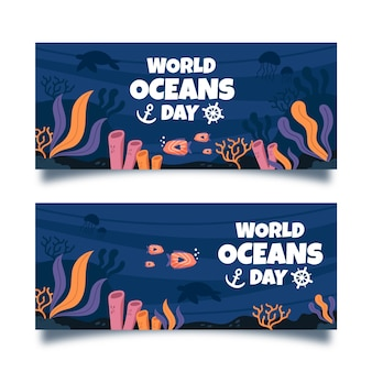 Hand drawn ocean day banner template