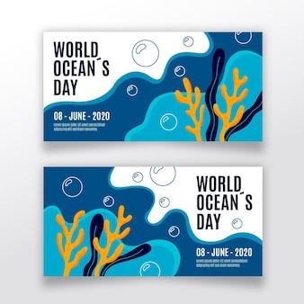 Set di banner giorno dell'oceano disegnati a mano
