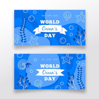 Hand drawn ocean's day banners