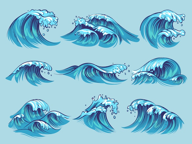 Hand drawn ocean waves set