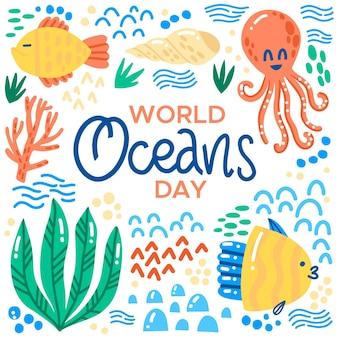 Ручной обращается день океана концепции