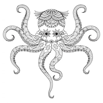 Hand drawn octopus background