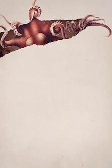 Reticolo di polpo disegnato a mano su uno sfondo marrone