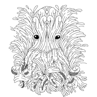 Hand drawn of octopus in zentangle style