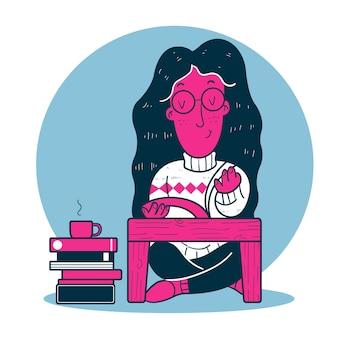 本を読みながら座っている女性の手描き