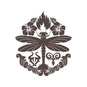 動物の花の手描きの火と水のタトゥーのデザインアート