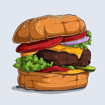 Рисованной большой вкусный и вкусный гамбургер с сыром, говядиной, помидорами, луком и салатом