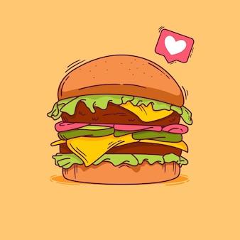 손으로 그린 햄버거