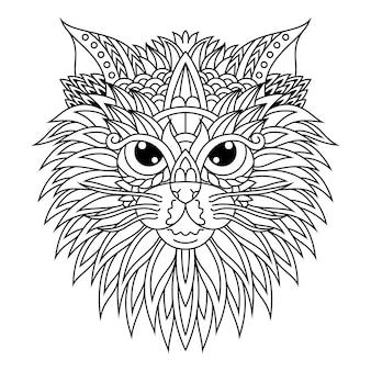 Рисованной головы кошки в стиле zentangle