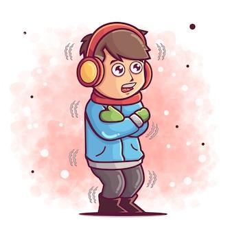 Ручной обращается милый мальчик мультфильм холодная иллюстрация