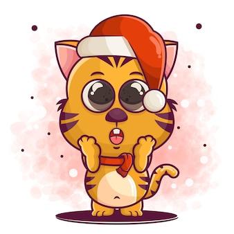 Нарисованный от руки мультфильм милый кот празднует рождественскую иллюстрацию