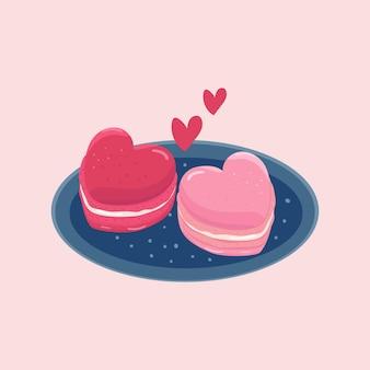 かわいいピンクのマカロンのハートの形の手描き