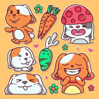 오렌지에 고립 된 귀여운 토끼의 그린 손