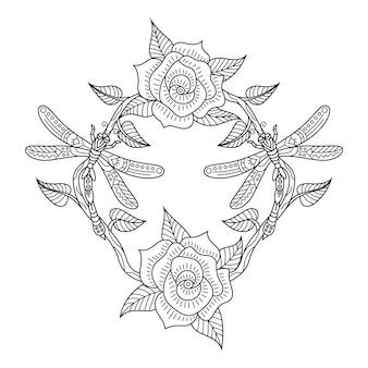 Zentangle 스타일의 꽃과 잠자리의 손으로 그린