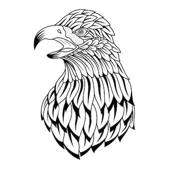 Zentangle 스타일의 독수리 머리의 손으로 그린