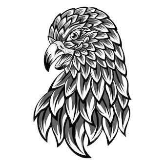 Zentangle 스타일의 독수리 머리의 손으로 그린 프리미엄 벡터