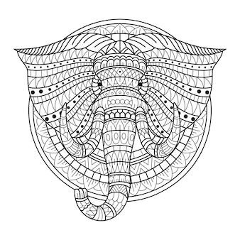 Zentangle 스타일의 코끼리 머리의 손으로 그린