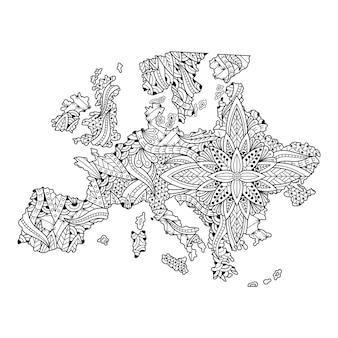 曼荼羅スタイルのヨーロッパ地図の手描き