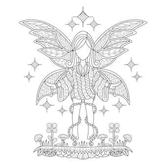Рисованной феи в стиле zentangle