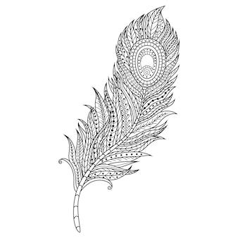 Zentangleスタイルの羽の手描き