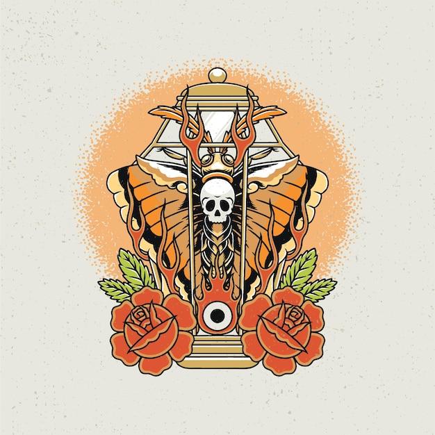 Нарисованный от руки садовый фонарь, бабочка, череп и роза в стиле тату старой школы.