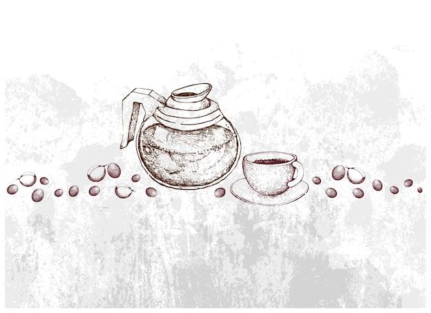 Ручной обращается из стеклянного горшка с кофе в зернах
