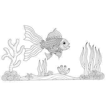 Zentangle 스타일의 황금 물고기의 손으로 그린
