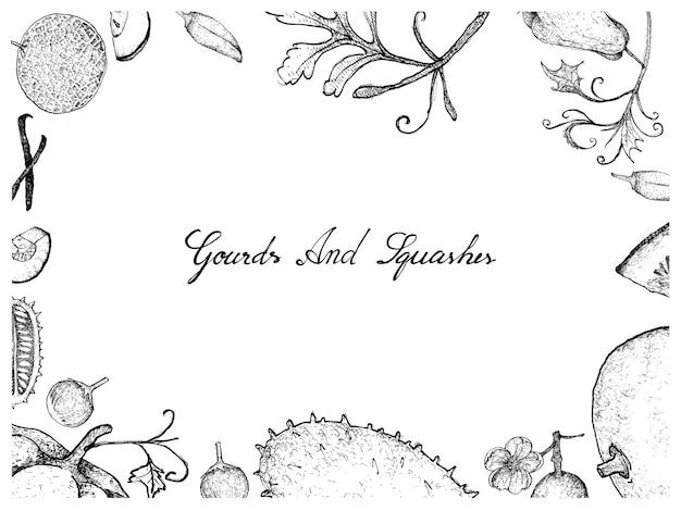 ひょうたんとスカッシュフルーツフレームの手描き
