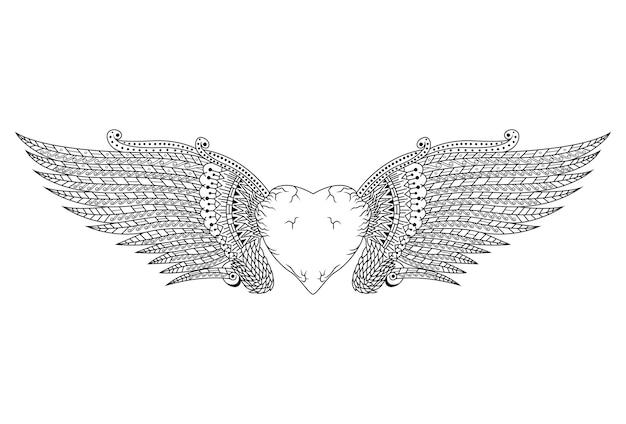 손으로 zentangle 스타일의 날개를 가진 하트 그린