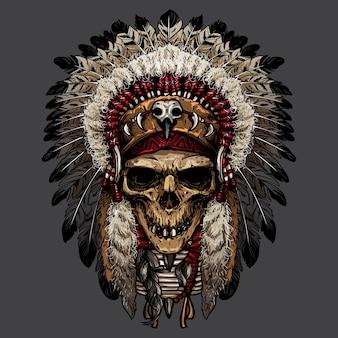 Ручной рисунок индийского черепа