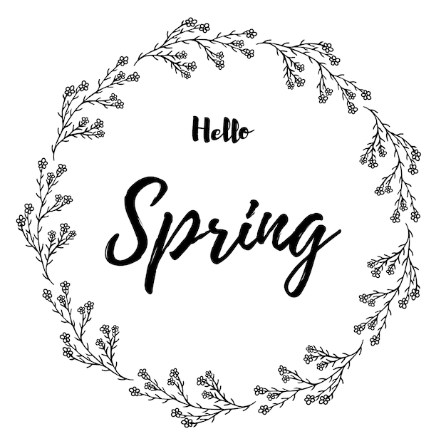 手紙の手描きハロースプリングス野生の花輪