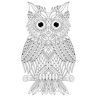 Рисованной совы в стиле zentangle