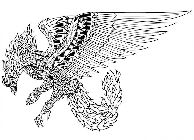 Ручной обращается из феникса в стиле zentangle