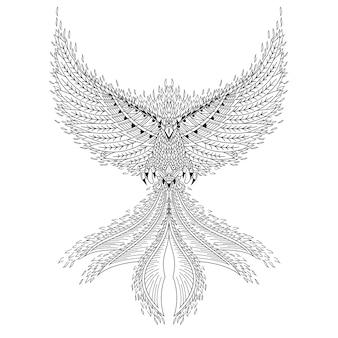 Ручной обращается феникс в стиле zentangle