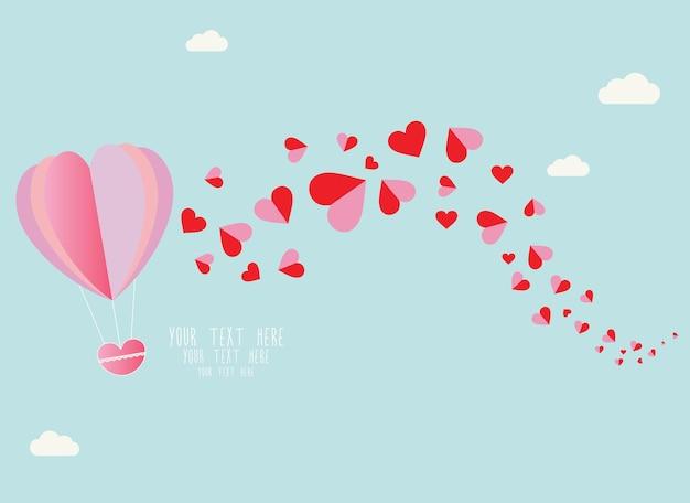 空を飛んでいる赤いハートの風船の手描き