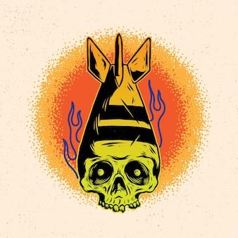상세한 드로잉 스타일로 해골 머리 폭탄과 불의 손으로 그린