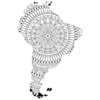 Нарисованная рукой карта южной америки в стиле мандалы