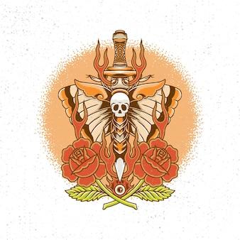 Нарисованный от руки меч и бабочка в стиле тату старой школы.