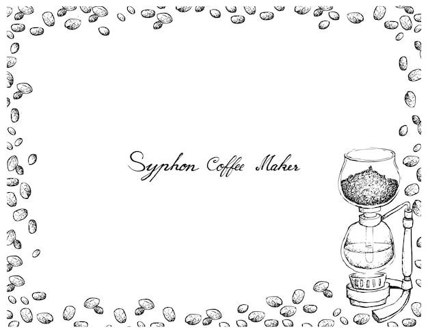 コーヒー豆とサイフォンコーヒーメーカーの手描き