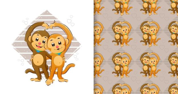 Рисованной маленькие обезьяны, стоящие и делающие любовный знак своей рукой в наборе шаблонов иллюстраций