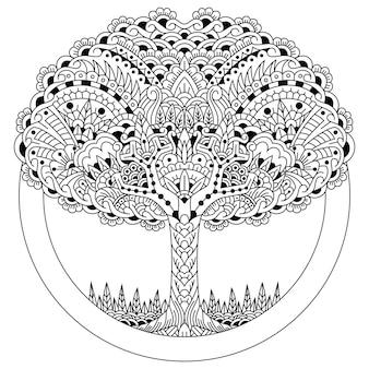 Zentangleスタイルで木の手描き