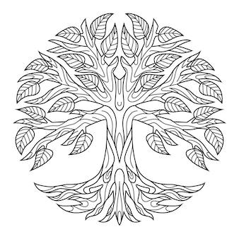 Zentangle 스타일의 나무의 손으로 그린